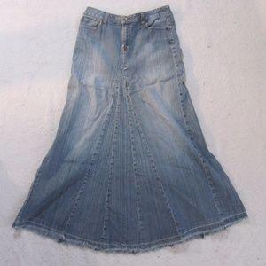 A.N.A. Denim Skirt Blue Jean Long Stretch Cut Off